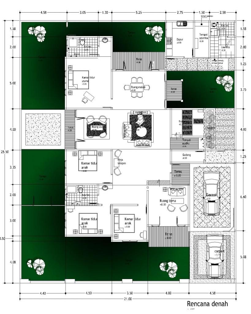 Desain rumah lahan 21x25,5