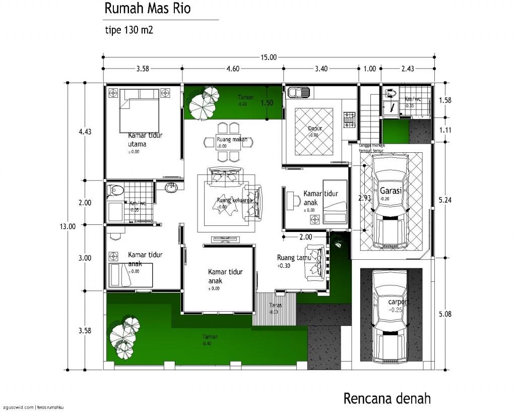 desain denah rumah tipe 130 m2 buat mas rio