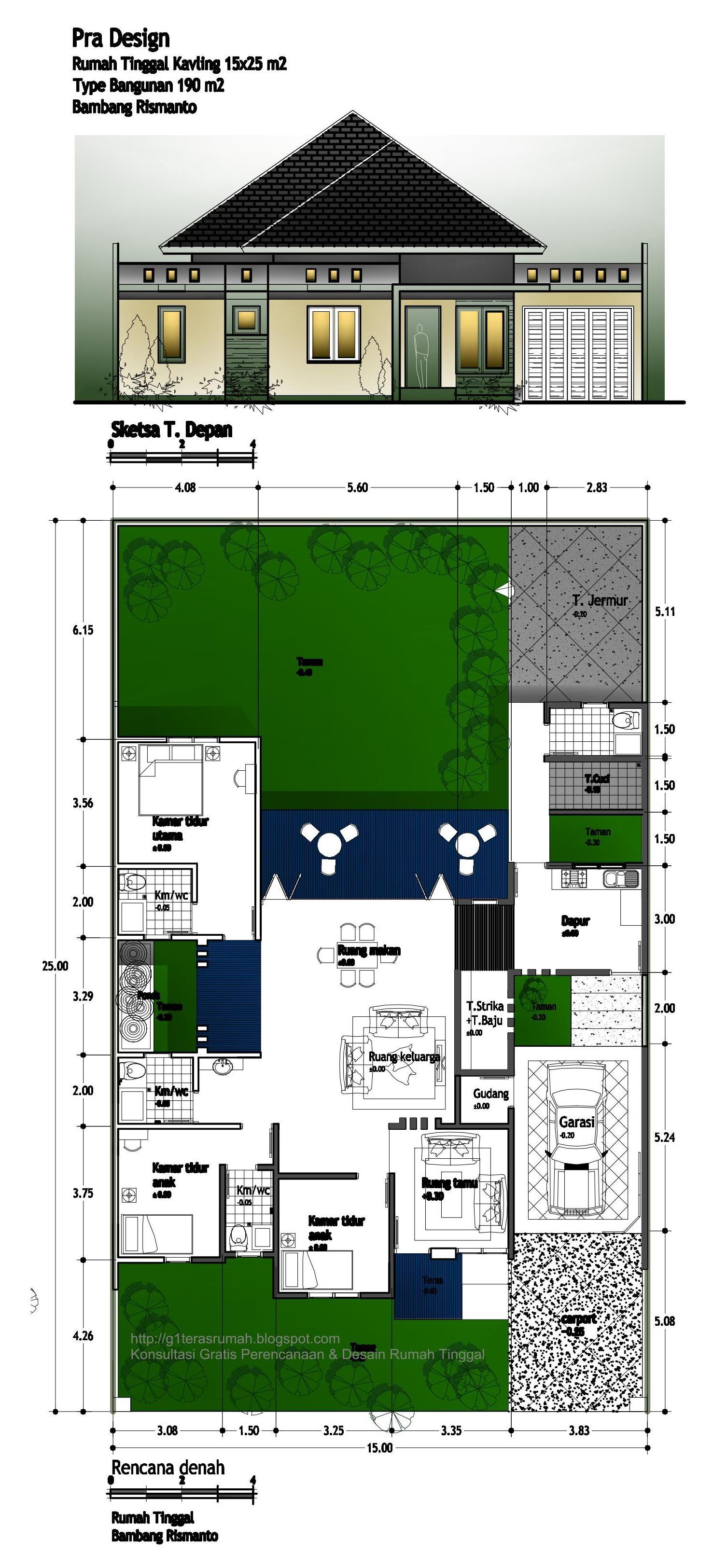 Rumah Tinggal Luas 190 M2 Di Lahan 15x25 M2 Order Bambang