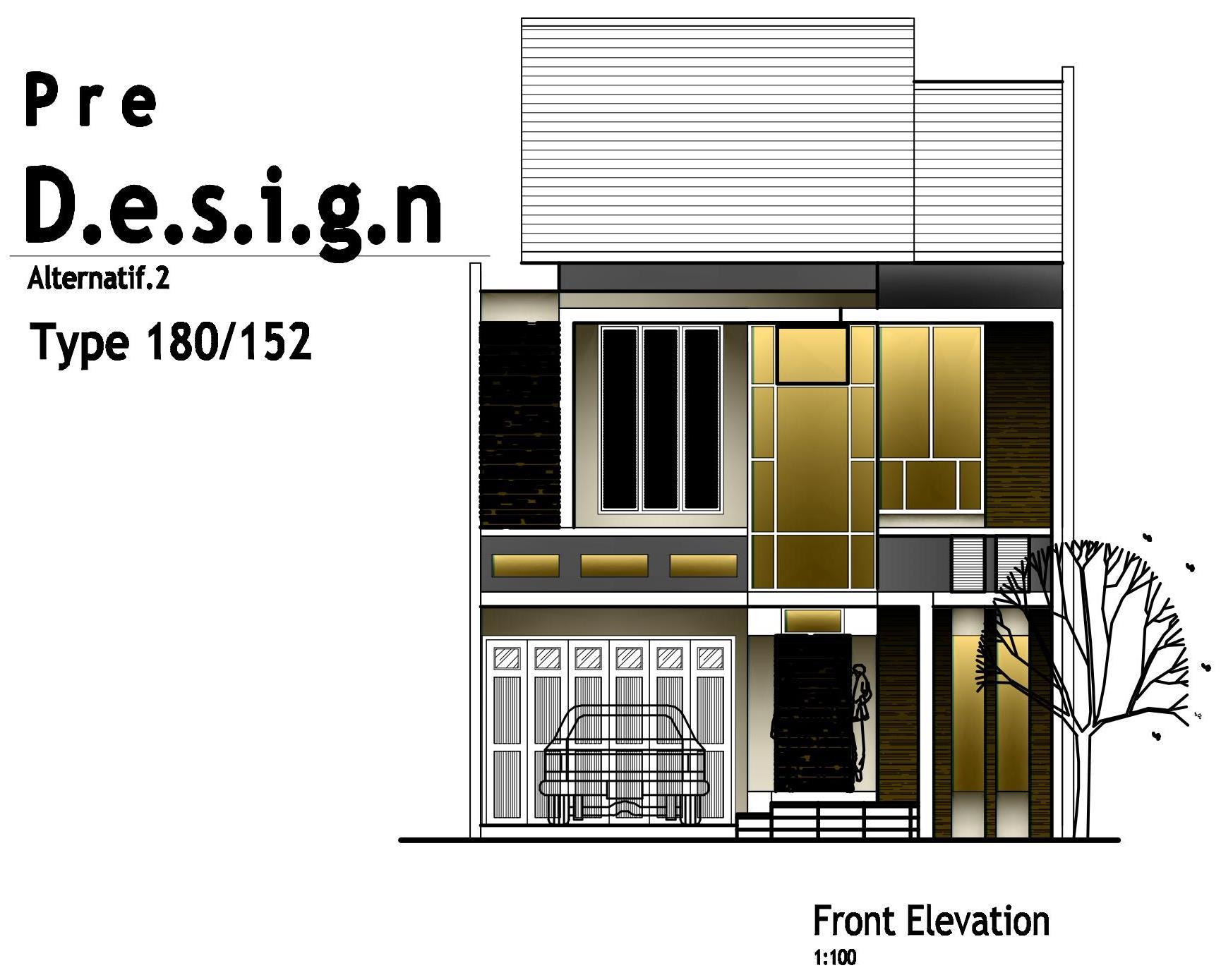Tampak Depan Rumah di Lahan 8x19m2 (untuk Pribadi Dinamis&Simple)
