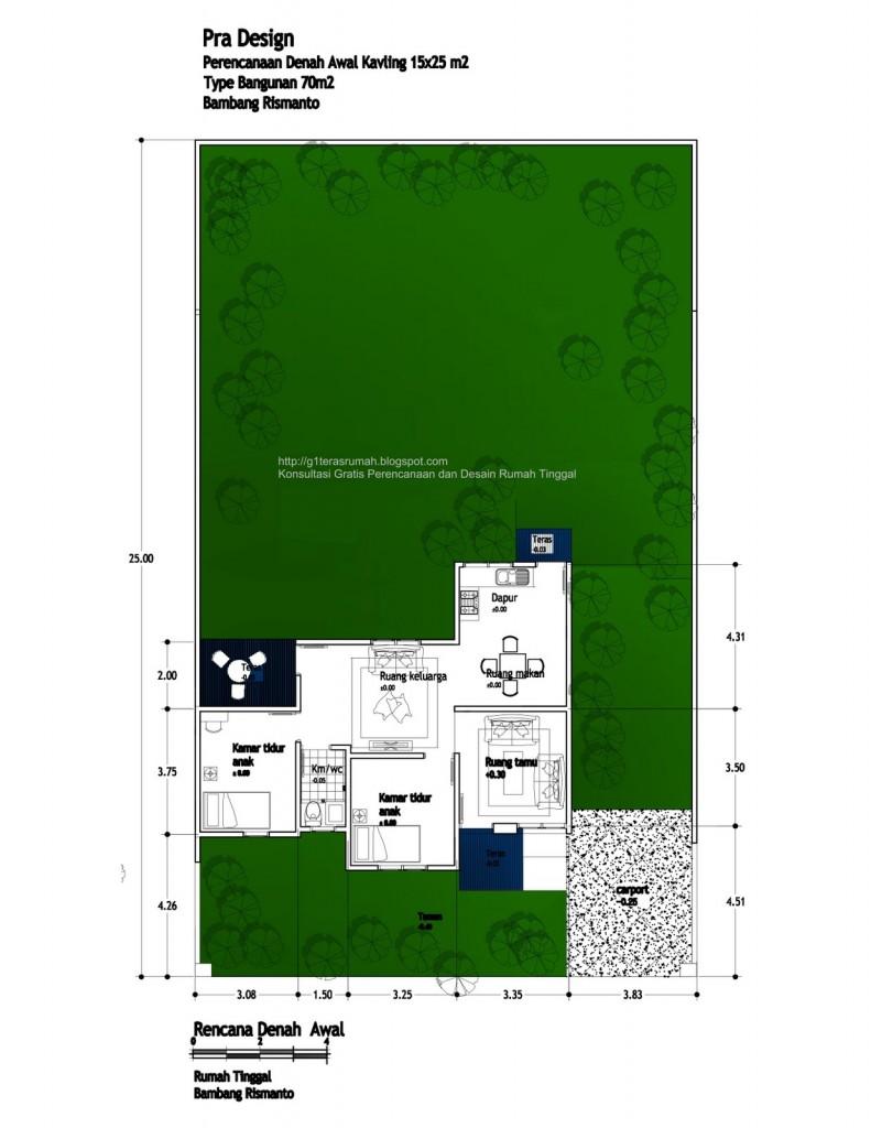 Rumah Tinggal Luas 190 m2 di lahan 15x25 m2 (order Bambang Rismanto)