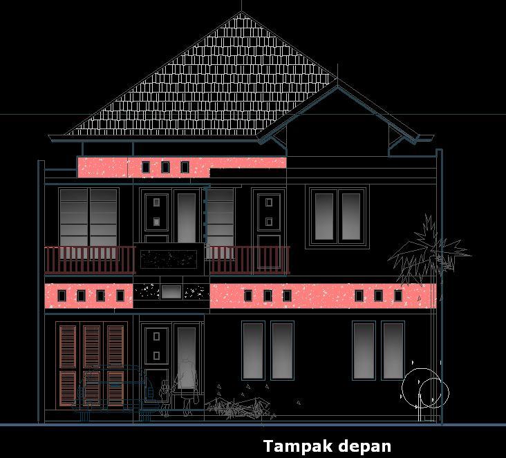 model rumah tinggal dan rumah kost di atas lahan 10 5x28