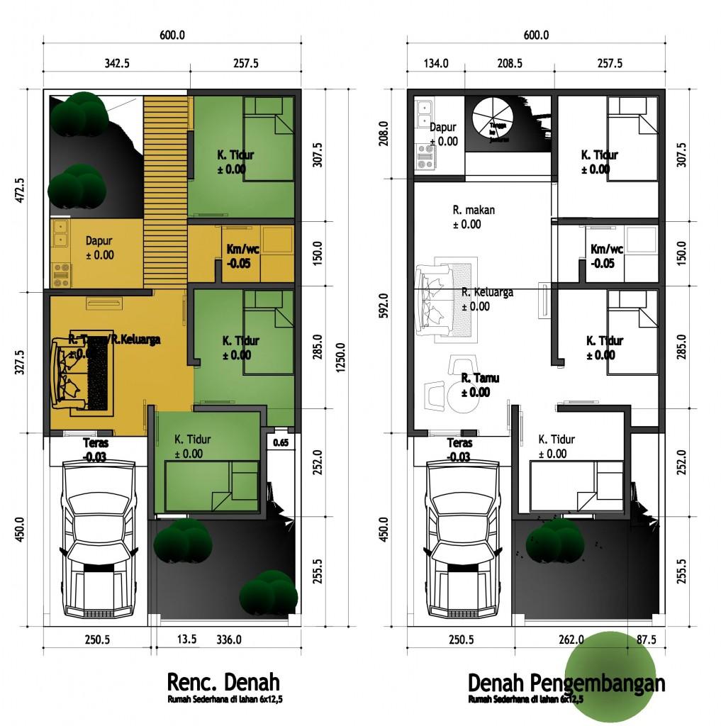 rumah sederhana berkamar tiga di lahan 6x12 5m tipe padas