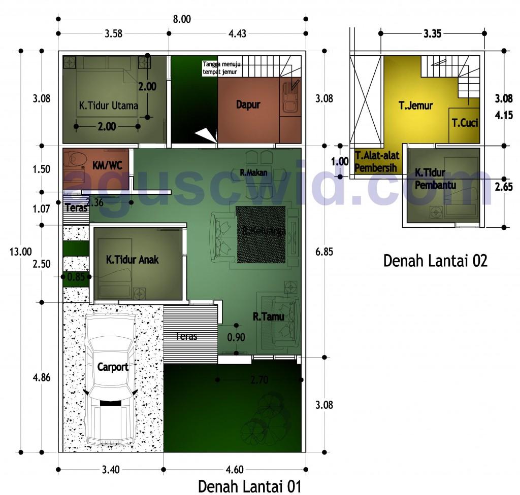 Denah Rumah Di Lahan 8x13 M2 Febry Aguscwidcom Aguscwidcom