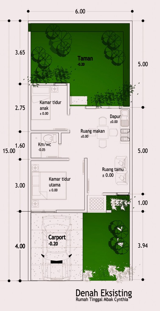 buat dapur di areal belakang di lahan 6x15 m2 mbak