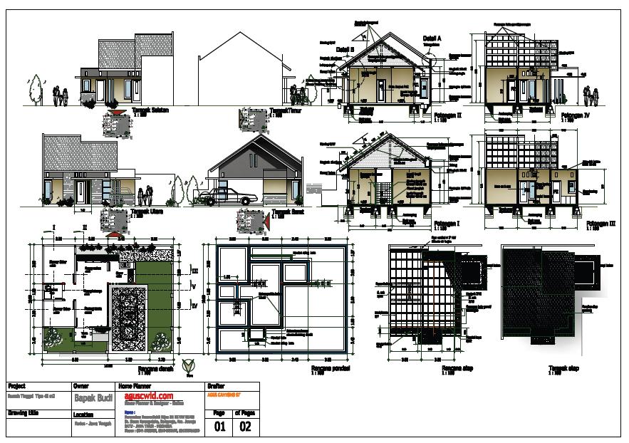 Berikut satu contoh model gambar perencanaan rumah