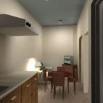 Sketsa 3d pantry, ruang makan, & ruang keluarga