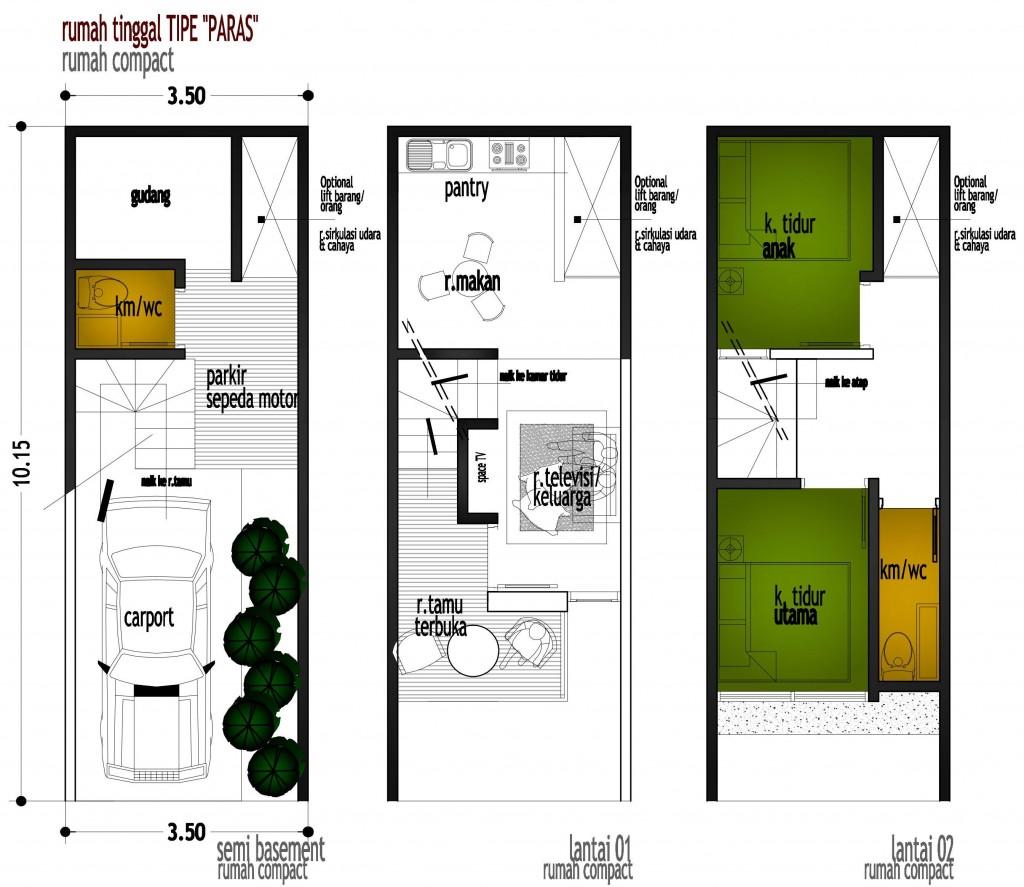 Desain Rumah Compact Tipe Paras Lahan 3 5 X10 M2