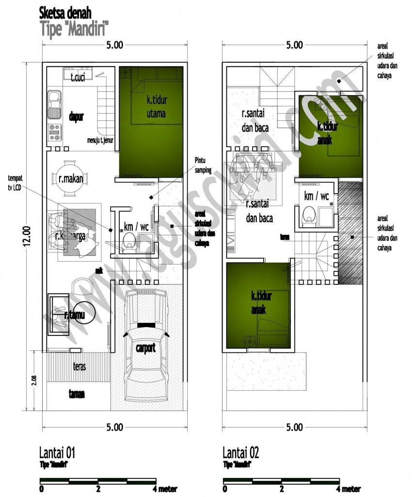Memaksimalkan Bangunan Di Lahan Kecil Tipe MANDIRI 5x12m2 Bapak
