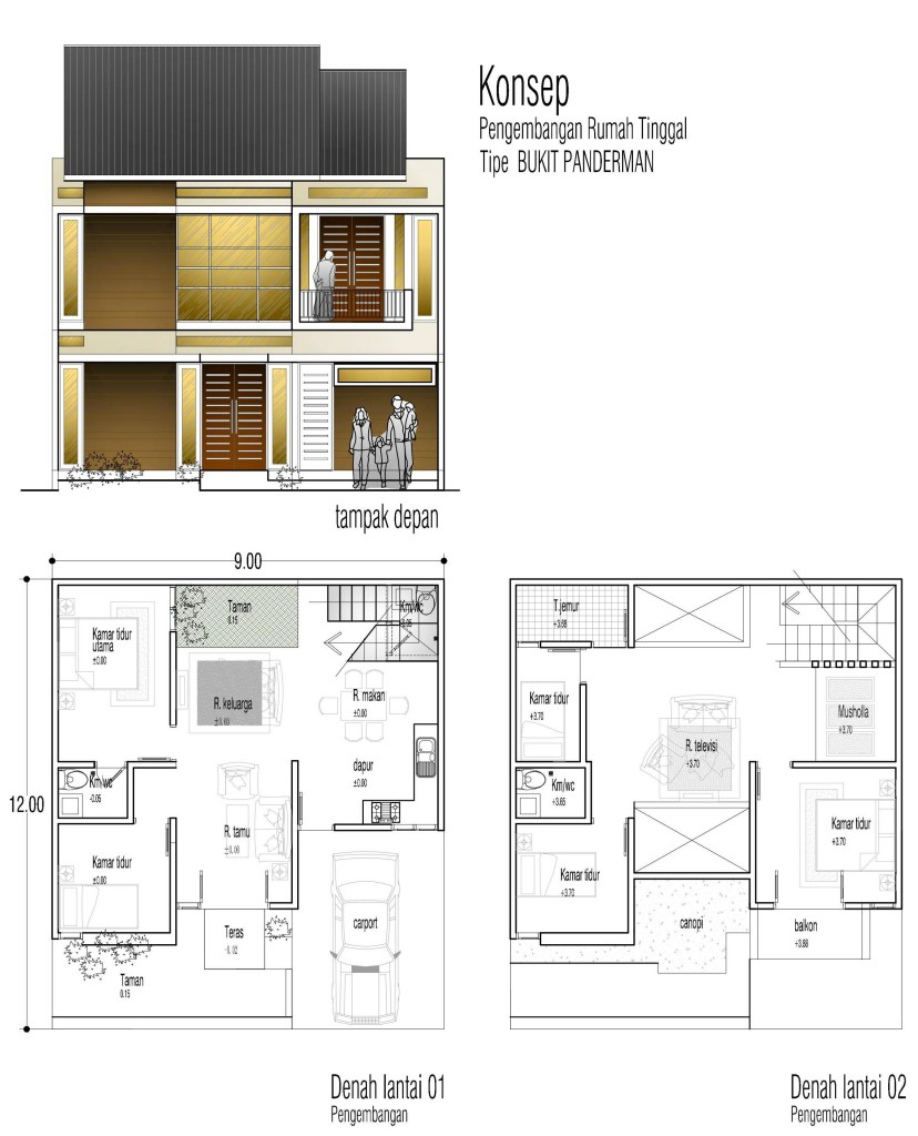 Konsep Rumah Tinggal Tipe Bukit Panderman Di Lahan X Meter Aguscwid Com Aguscwid Com