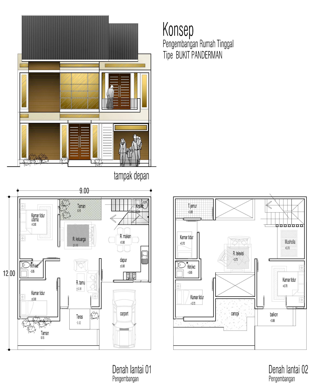 Konsep Rumah Tinggal Tipe BUKIT PANDERMAN Di Lahan 9x12 Meter
