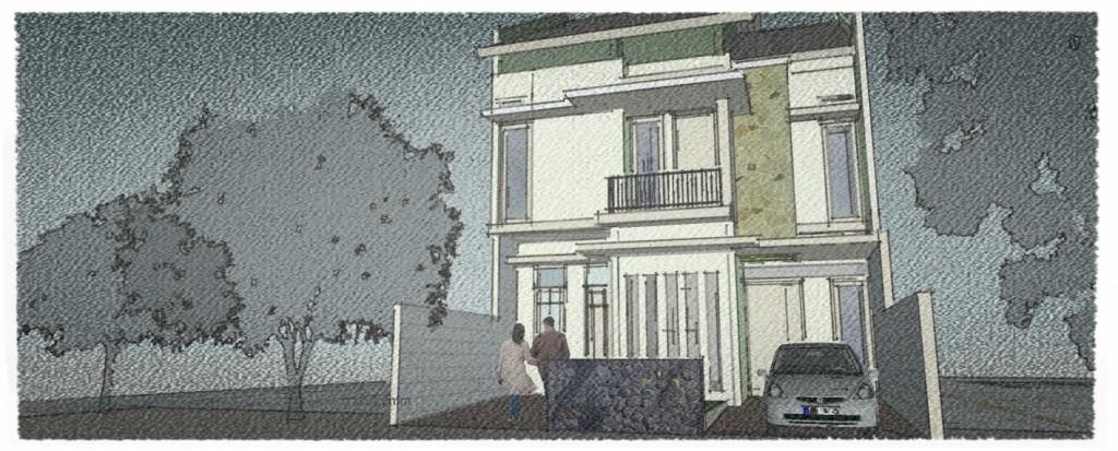 efek pensil warna. Konsep renovasi rumah bapak Asif