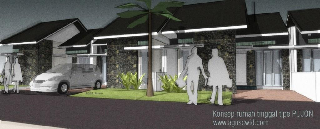 desain rumah tinggal tipe pujon di lahan 8x12 m2