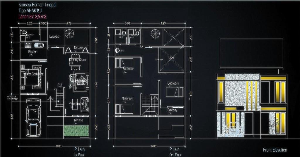 Rumah tinggal, desain rumah, denah rumah, denah rumah tinggal, denah lahan 8x12,5m, lahan 8x12,5m, rumah minimalis, rumah tropsi, tropis minimalis, denah kamar 4 buah