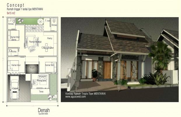 Nuansa Rumah Tropis Modern Tipe Mentawai Aguscwid Desain Kecil Pinggir