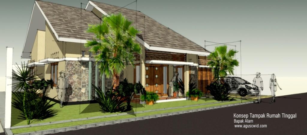Project : Konsep tampak rumah tropis modern. Pak Alam