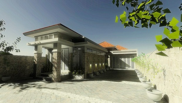 Project : Konsep tampak rumah dan toko. Ibu Santi