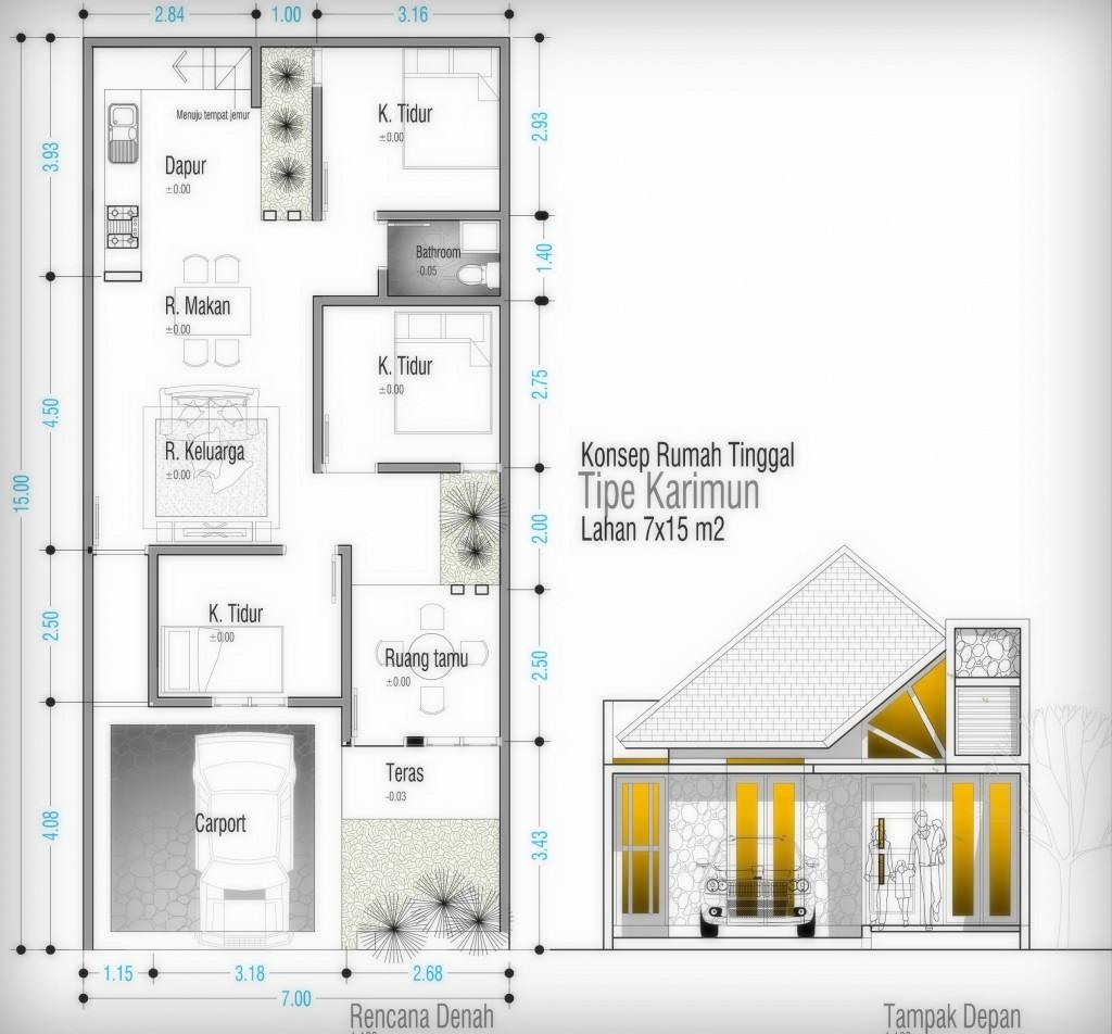 denah dan desain rumah 3 kamar home design life styles