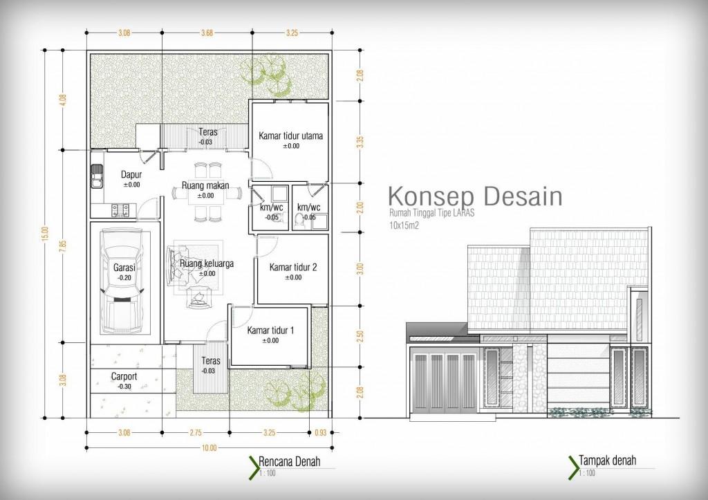 Denah Rumah tipe Laras_10x15m2
