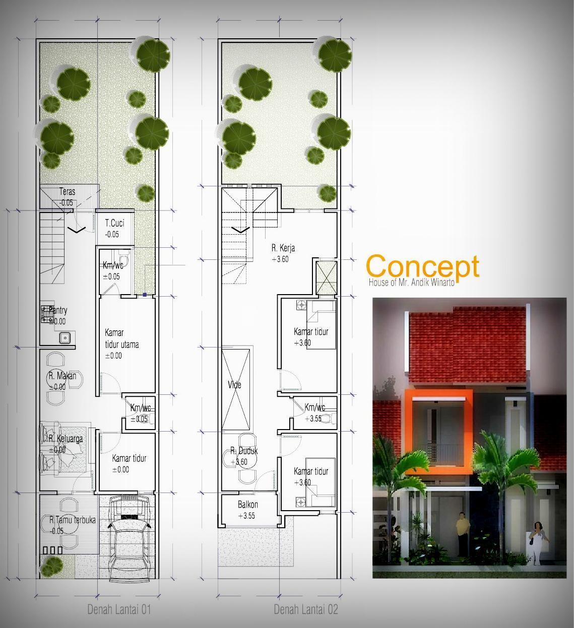 inspirasi desain rumah di lahan lebar 5 meter andik