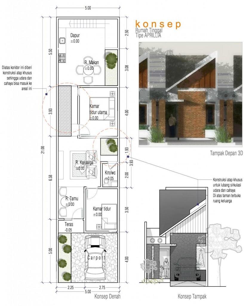 desain rumah tinggal tipe aprillia 5x21m2