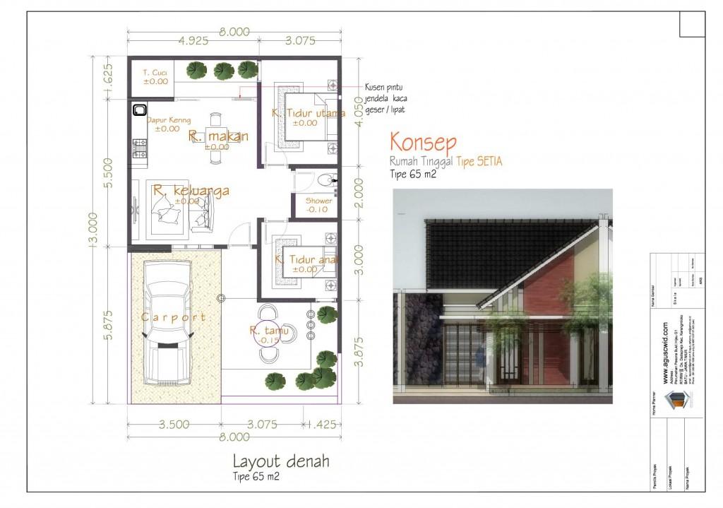 Denah&Tampak Rumah Tipe SETIA_7x13m2