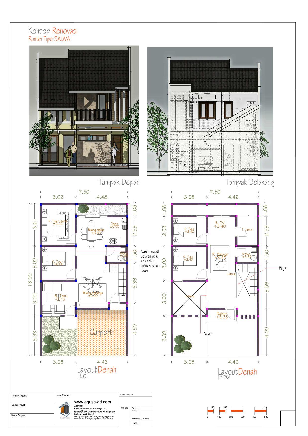 renovasi rumah tinggal tropis lahan 7 5x13 m2 aguscwid