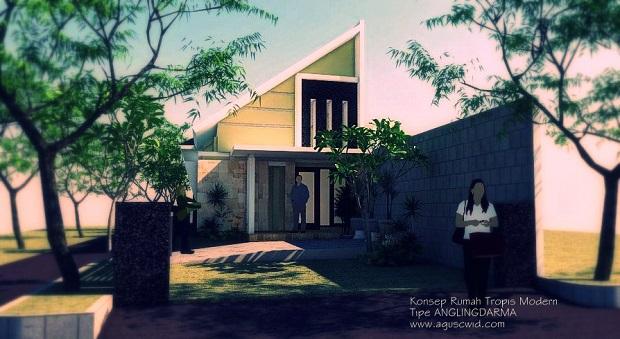 Perspektif Rumah Tropis Modern Tipe ANGLINGDARMA