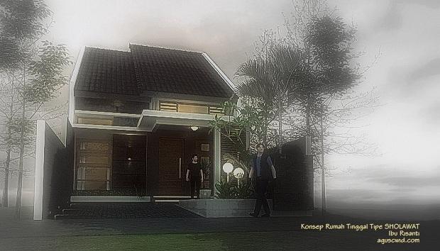 Konsep Tampak Depan Rumah Ibu Risanti_Tipe SHOLAWAT