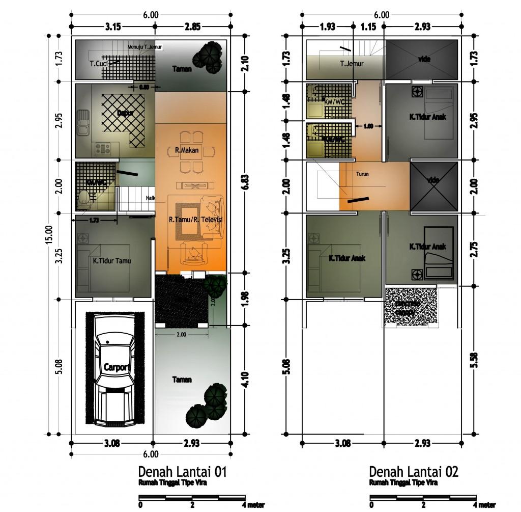 Denah Rumah Tipe VIRA, 6x15m2