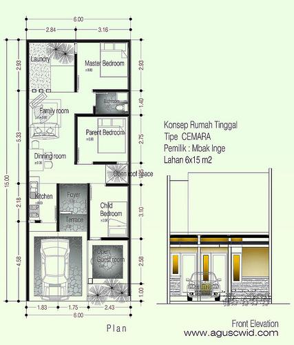 Desain Rumah Sederhana Tipe CEMARA di Lahan 6—15 m2 Mbak Inge