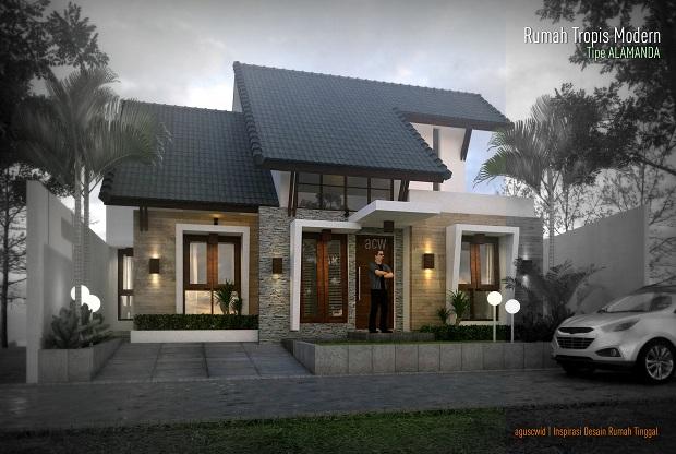Konsep Rumah Tropis Modern Tipe Alamanda 13x14m2