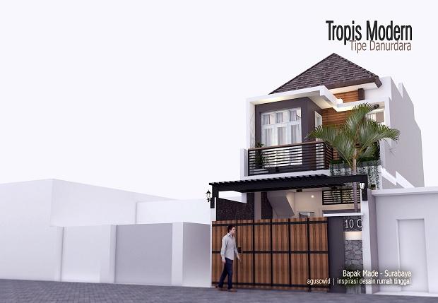 Konsep Tampak Rumah Tropis Modern Tipe DANURDARA